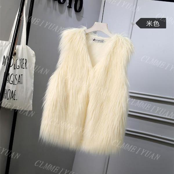 Women Faux Fur Vest Solid Winter Loose Oversize Female Sleeveless Jacket Waistcoat cream