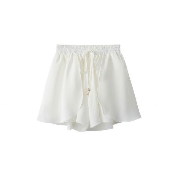 New Chiffon Wide Leg Shorts Drawstring High Waist Summer Solid Casual Loose Shorts off white