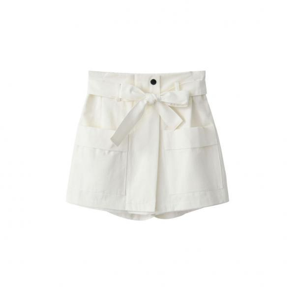 White High Rise Shorts Featuring Bow Accent Tie Belt and Pockets
