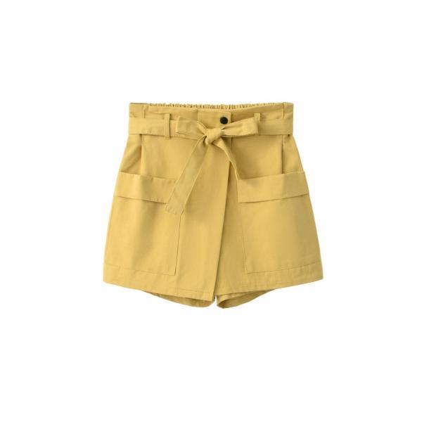 Women High Waist Shorts Women Belted Beach Summer Loose Streetwear Wide Leg Shorts yellow