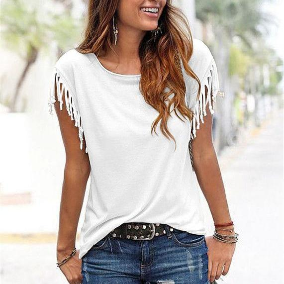 Women Tassel Casual T-Shirt Solid Color Basic Short Sleeve O-Neck Plus Size Summer Tops off white
