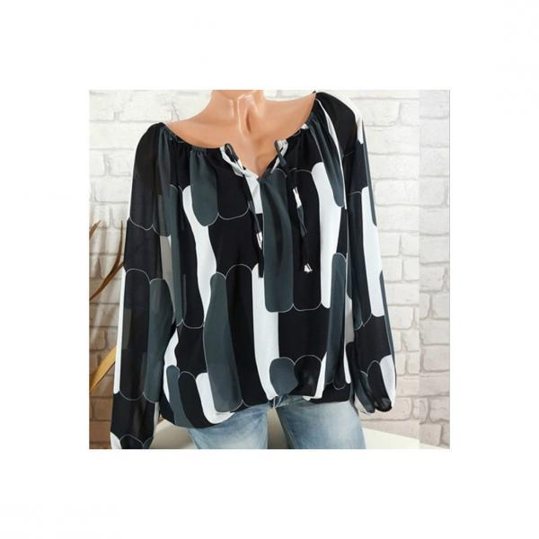 Off the Shoulder Chiffon Shirt Long Sleeve Casual Women Loose Blouse Summer Tops black