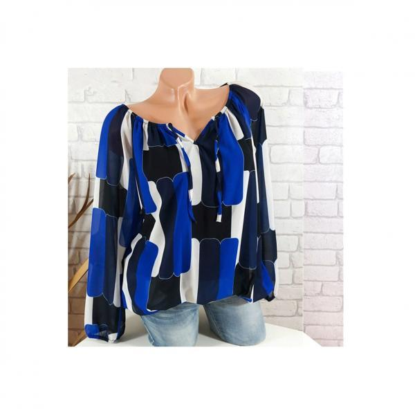 Off the Shoulder Chiffon Shirt Long Sleeve Casual Women Loose Blouse Summer Tops blue