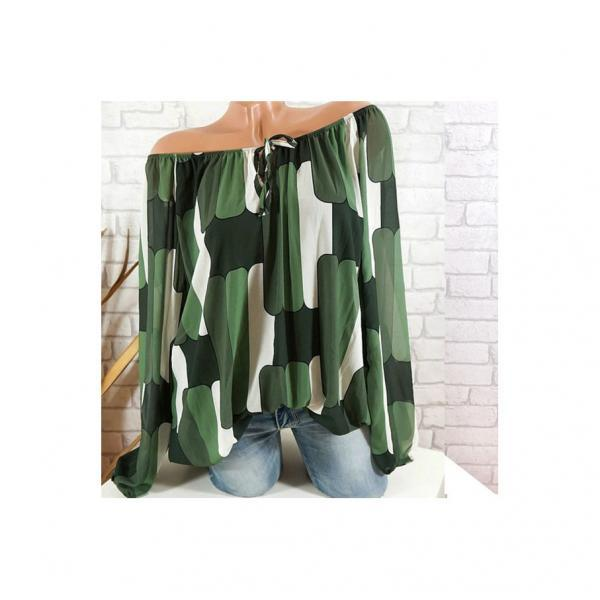 Off the Shoulder Chiffon Shirt Long Sleeve Casual Women Loose Blouse Summer Tops green