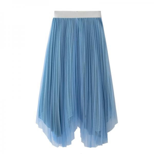 Blue Pleated A-line Tulle Midi Skirt with Irregular Hem