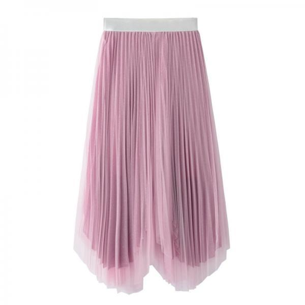 Pink Pleated A-line Tulle Midi Skirt with Irregular Hem