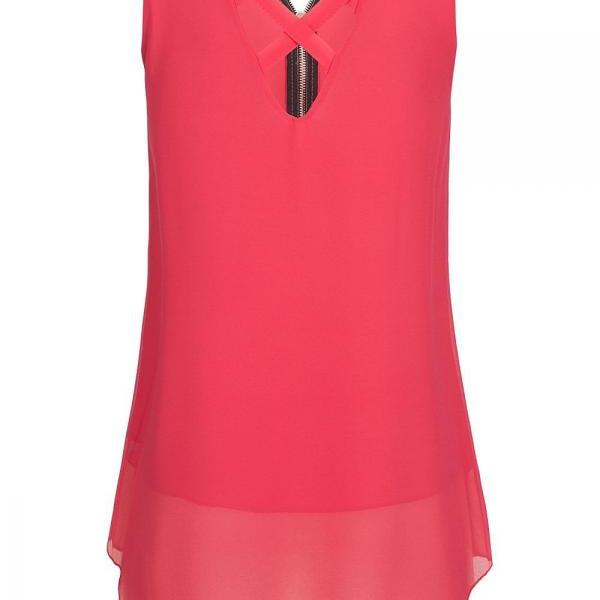 Plus Size Summer Tank Top Women Tunic Zipper V Neck Sleeveless Criss Cross Casual Vest red
