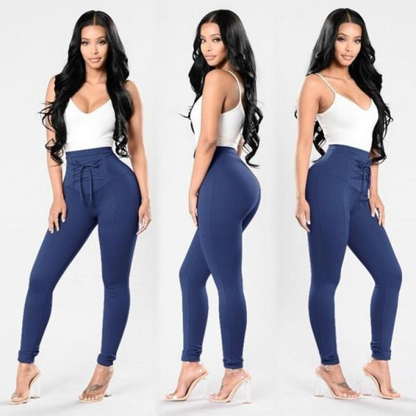 Women High Waist Skinny Legging Elastic Lace Up Fitness Sporting Bandage Pencil Pants blue