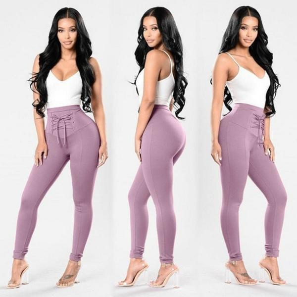 Women High Waist Skinny Legging Elastic Lace Up Fitness Sporting Bandage Pencil Pants lilac