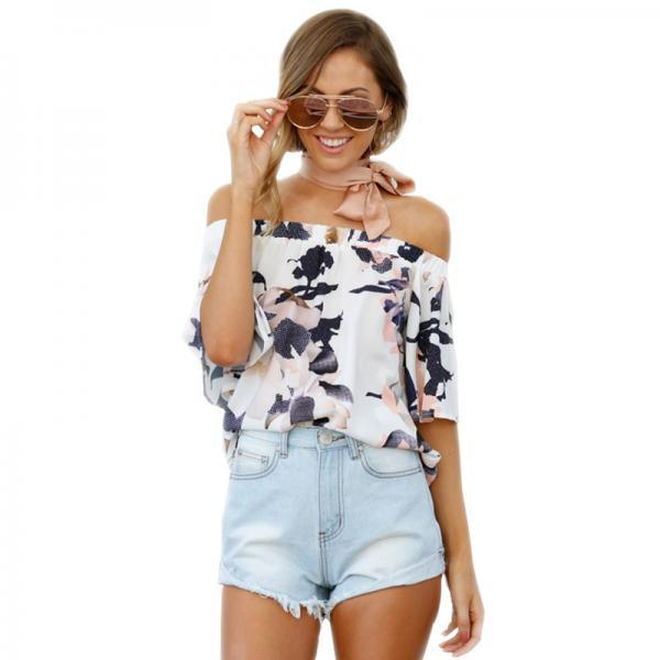 Floral Print White Elasticised Off-The-Shoulder Half Sleeves Blouse