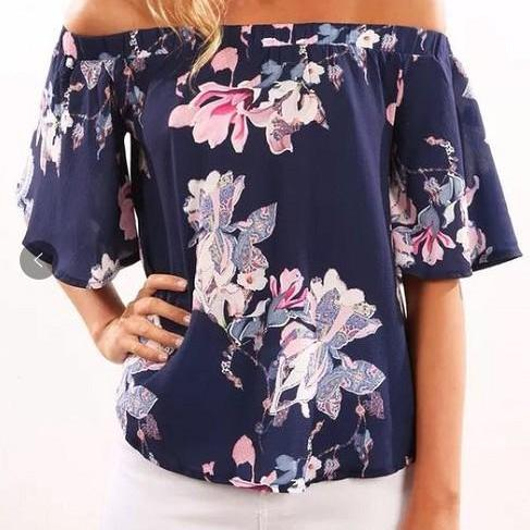 Floral Print Blue Elasticised Off-The-Shoulder Half Sleeves Blouse