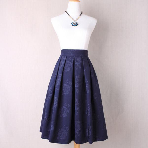 Women Floral Print A Line Skirt High Waist Tutu Pleated Zipper Pocket Midi Skater Skirt navy blue