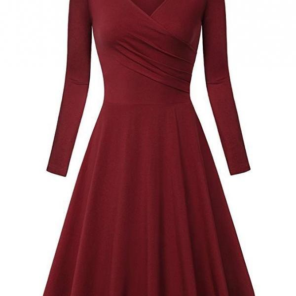 Women Casual Dress Long Sleeve V Neck Pleated A Line Work Office Party Dress crimson