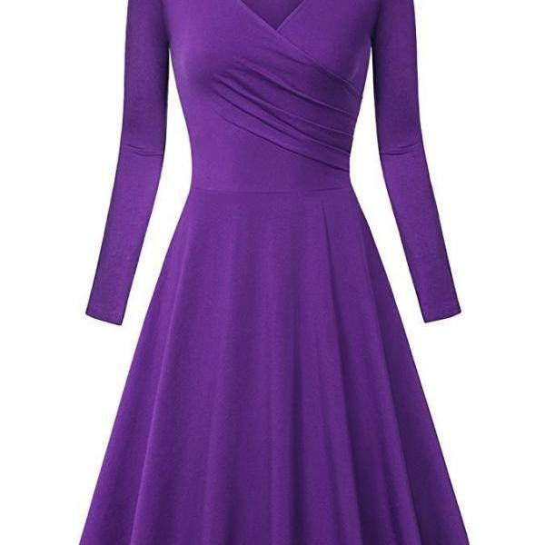 Women Casual Dress Long Sleeve V Neck Pleated A Line Work Office Party Dress purple