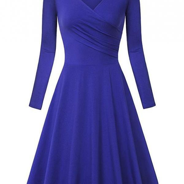 Women Casual Dress Long Sleeve V Neck Pleated A Line Work Office Party Dress royal blue