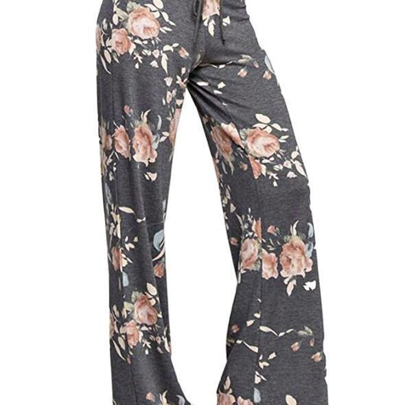 Women Wide Leg Long Pants Floral Print Casual High Waist Drawstring Loose Palazzo Pajama Trousers2#