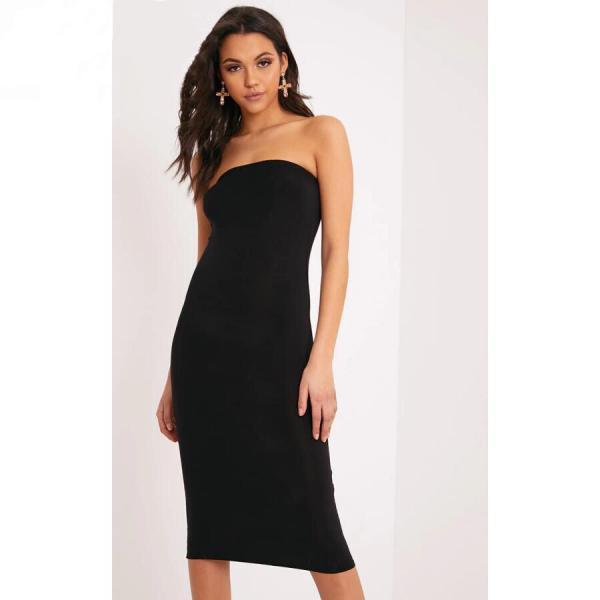 Black Strapless Slim Pencil Bodycon Dress, Club Party Dress