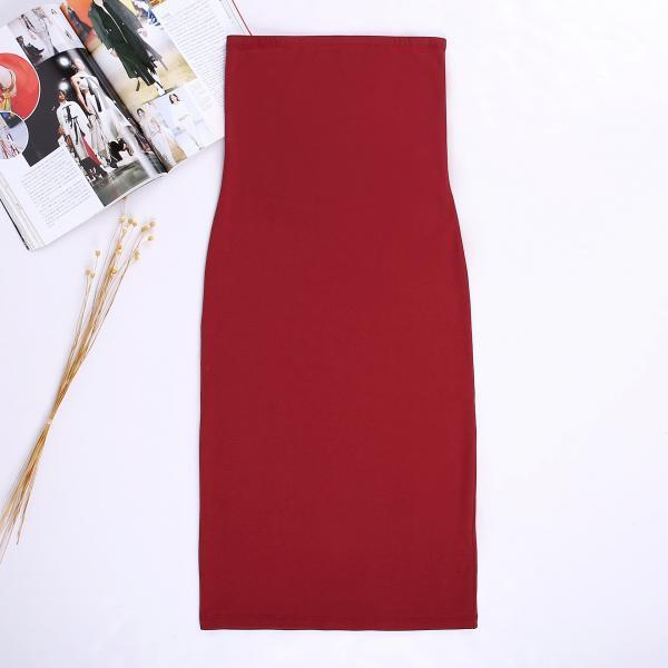 Women Summer Pencil Dress Strapless Beach Slim Bodycon Club Party Dress crimson