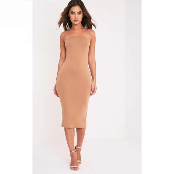Women Summer Pencil Dress Strapless Beach Slim Bodycon Club Party Dress khaki