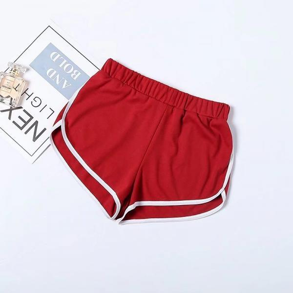 Women Summer Shorts Elastic Waist Streetwear Loose Letter Printed Soft Cotton Casual Shorts crimson