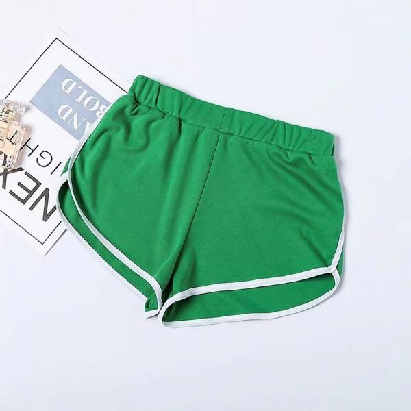 Women Summer Shorts Elastic Waist Streetwear Loose Letter Printed Soft Cotton Casual Shorts green