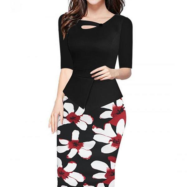 Women Floral Print Patchwork Pencil Dress Half/Long Sleeve Plus Size Slim Work OL Office Bodycon Party Dress 11#