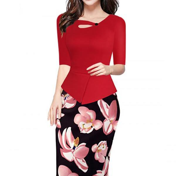 Women Floral Print Patchwork Pencil Dress Half/Long Sleeve Plus Size Slim Work OL Office Bodycon Party Dress 12#