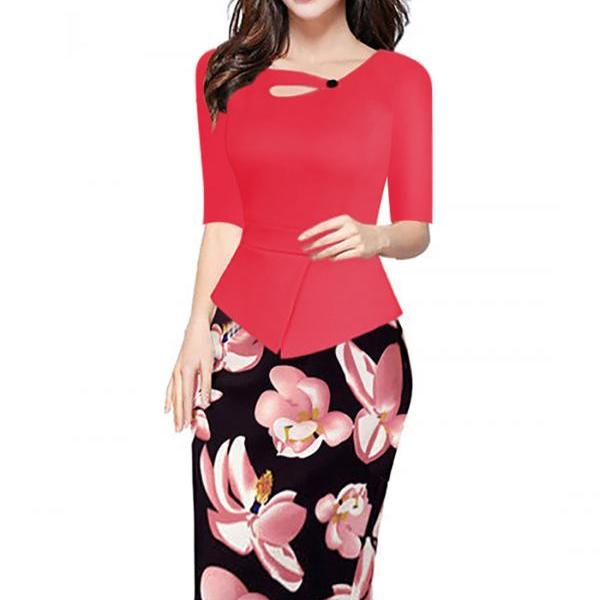 Women Floral Print Patchwork Pencil Dress Half/Long Sleeve Plus Size Slim Work OL Office Bodycon Party Dress 13#