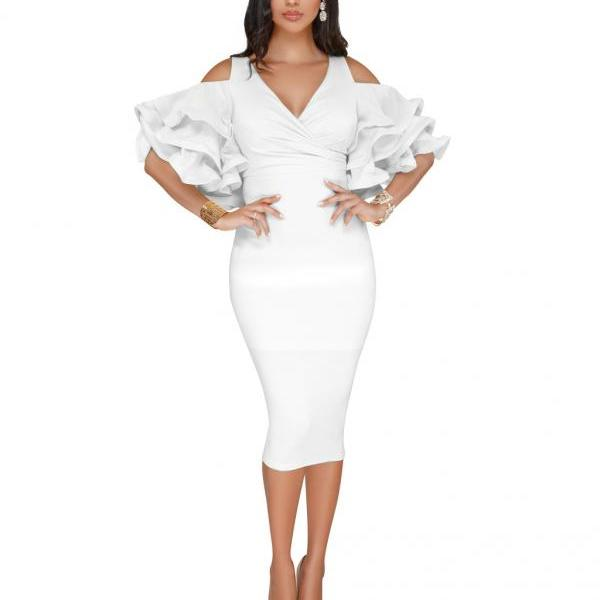 Sexy Bodycon Party Dress V Neck Ruffles Sleeve Split Off The Shoulder Slim Women Pencil Dress off white