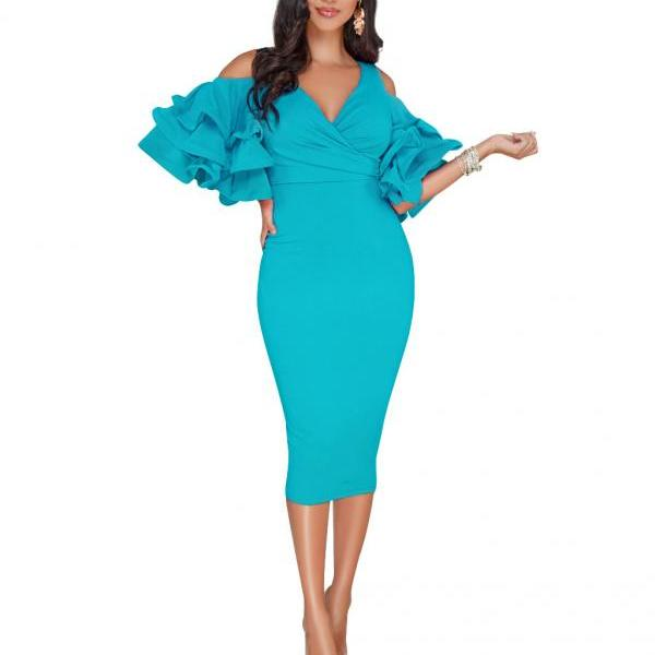 Sexy Bodycon Party Dress V Neck Ruffles Sleeve Split Off The Shoulder Slim Women Pencil Dress peacock blue