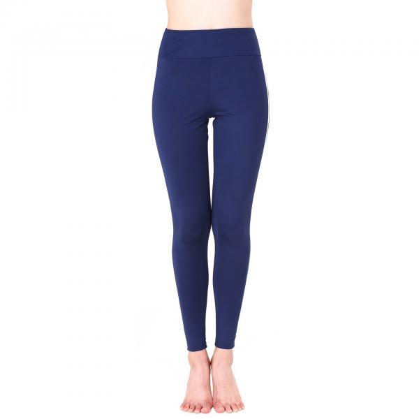 Women Yoga Striped Patchwork Leggings Slim High Waist Sports Fitness Gym Running Pants navy blue