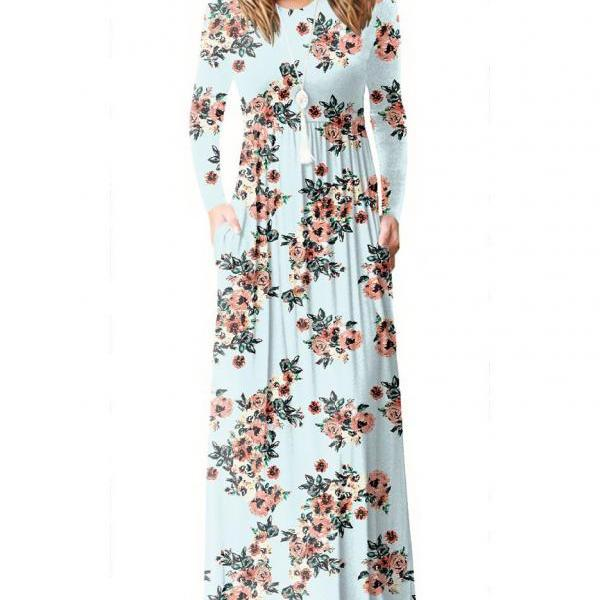 Women Floral Print Maxi Dress Long Sleeve Pockets Beach Boho Long Casual Party Dress baby blue