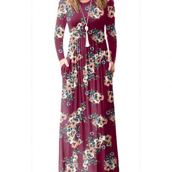 Women Floral Print Maxi Dress Long Sleeve Pockets Beach Boho Long Casual Party Dress burgundy