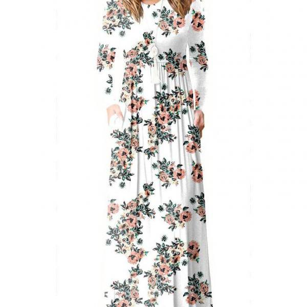 Women Floral Print Maxi Dress Long Sleeve Pockets Beach Boho Long Casual Party Dress off white