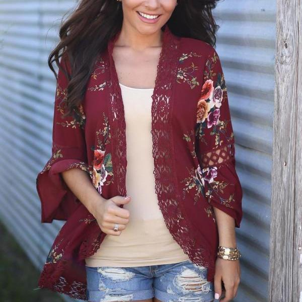 Boho Women Coat Jacket Hollow Lace Flare Long Sleeve Casual Open Stitch Floral Printed Cardigan burgundy