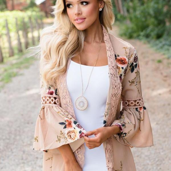 Boho Women Coat Jacket Hollow Lace Flare Long Sleeve Casual Open Stitch Floral Printed Cardigan khaki