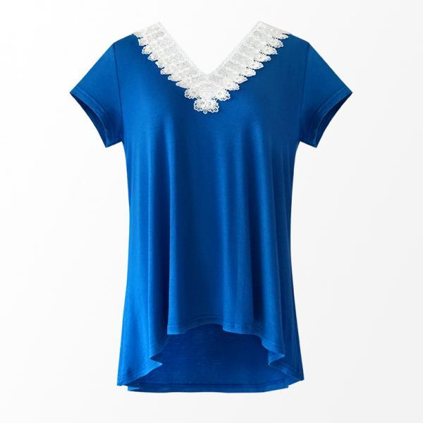 Women Summer T Shirt V Neck Short Sleeve Slim Lace Patchwork Casual Tee Tops blue