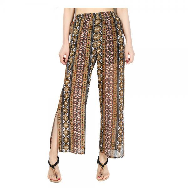 Women Chiffon Loose Casual Pants High Waist Summer Side Split Floral Printed Wide Leg Trousers 5#