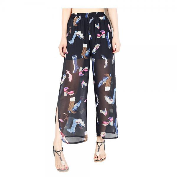 Women Chiffon Loose Casual Pants High Waist Summer Side Split Floral Printed Wide Leg Trousers9#