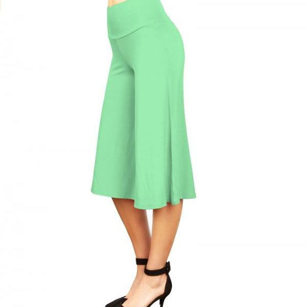 Women Wide Leg Pants High Waist Knee Length Summer Casual Loose Streetwear Trouses pale green