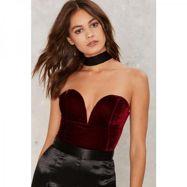 Women Velvet Bodysuit V Neck Slim Body Tops Backless Lace Up Bodycon Jumpsuit burgundy