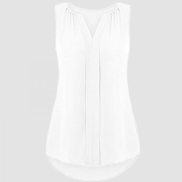 Off White Sleeveless V Neck Loose Chiffon Tank Top, Plus Size Blouse