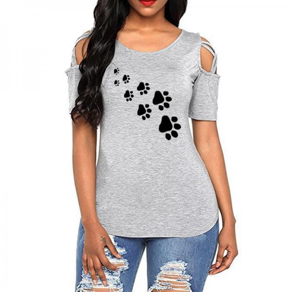Women T-Shirt Summer Short Sleeve Casual Printed Loose Off the Shoulder Tee Tops gray footprint