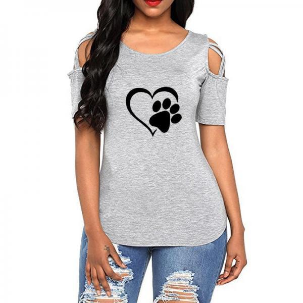 Women T-Shirt Summer Short Sleeve Casual Printed Loose Off the Shoulder Tee Tops gray heart