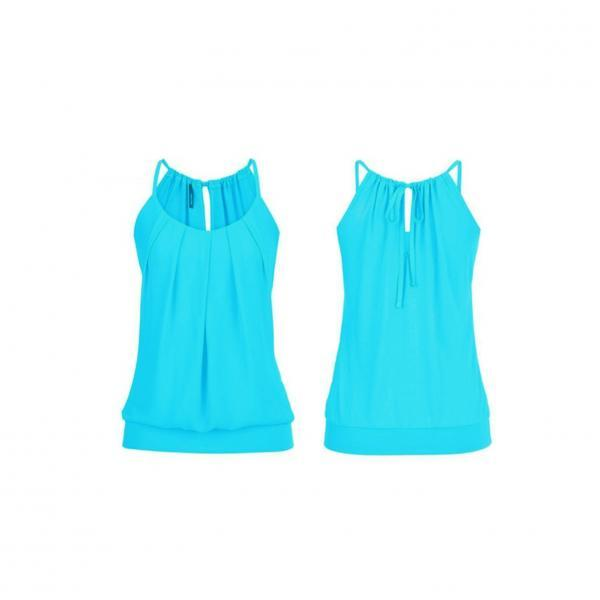 Women Tank Top Summer Casual Ruched Plus Size Loose Sleeveless T Shirts blue
