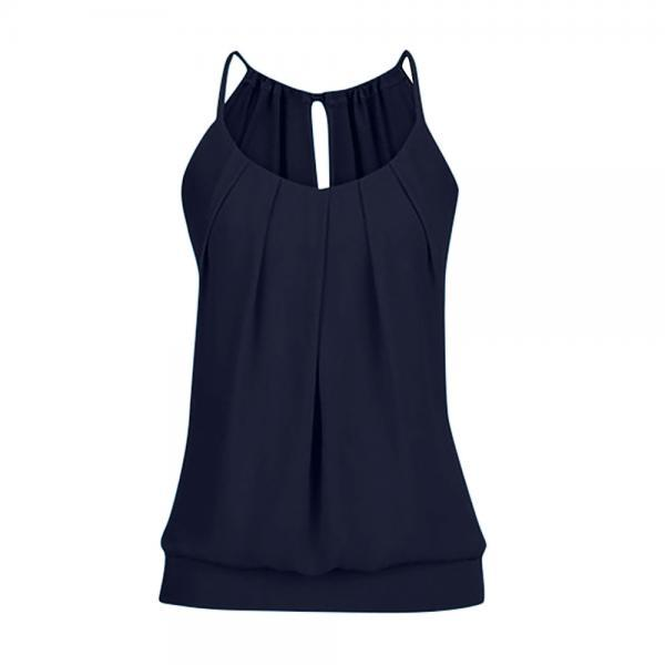 Women Tank Top Summer Casual Ruched Plus Size Loose Sleeveless T Shirts navy blue