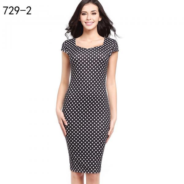 Women Pencil Dress Short Sleeve Floral/Polka Dot Bodycon Slim Work Office Party Dress 729-2