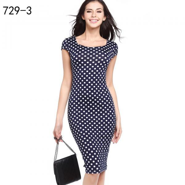 Women Pencil Dress Short Sleeve Floral/Polka Dot Bodycon Slim Work Office Party Dress 729-3