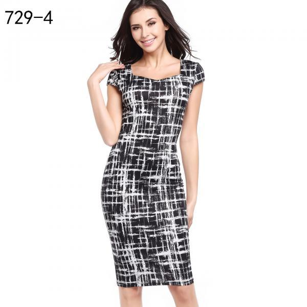 Women Pencil Dress Short Sleeve Floral/Polka Dot Bodycon Slim Work Office Party Dress 729-4