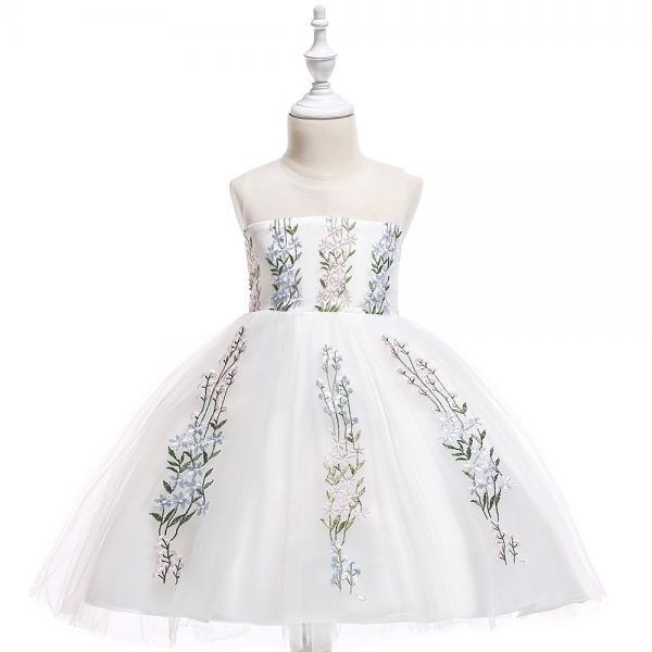 Embroidery Flower Girl Dress Wedding Formal Birthday Party Gown Children Clothes baby blue